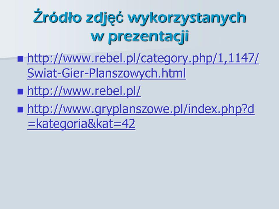 Ź ródło zdj ęć wykorzystanych w prezentacji http://www.rebel.pl/category.php/1,1147/ Swiat-Gier-Planszowych.html http://www.rebel.pl/category.php/1,1147/ Swiat-Gier-Planszowych.html http://www.rebel.pl/category.php/1,1147/ Swiat-Gier-Planszowych.html http://www.rebel.pl/category.php/1,1147/ Swiat-Gier-Planszowych.html http://www.rebel.pl/ http://www.rebel.pl/ http://www.rebel.pl/ http://www.gryplanszowe.pl/index.php d =kategoria&kat=42 http://www.gryplanszowe.pl/index.php d =kategoria&kat=42 http://www.gryplanszowe.pl/index.php d =kategoria&kat=42 http://www.gryplanszowe.pl/index.php d =kategoria&kat=42