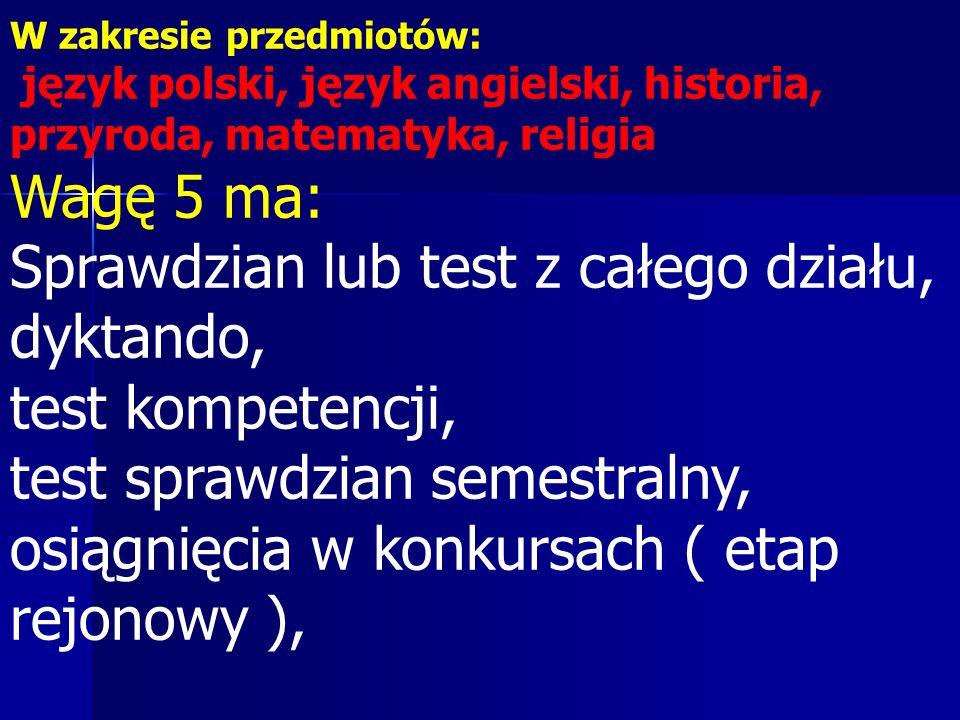 W zakresie przedmiotów: język polski, język angielski, historia, przyroda, matematyka, religia Wagę 5 ma: Sprawdzian lub test z całego działu, dyktando, test kompetencji, test sprawdzian semestralny, osiągnięcia w konkursach ( etap rejonowy ),