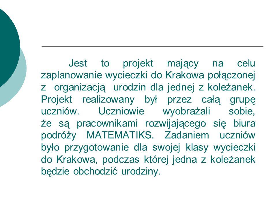 Jest to projekt mający na celu zaplanowanie wycieczki do Krakowa połączonej z organizacją urodzin dla jednej z koleżanek. Projekt realizowany był prze