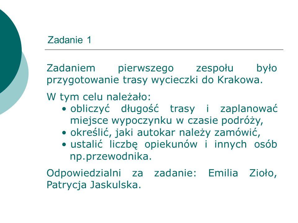 Zadanie 1 Zadaniem pierwszego zespołu było przygotowanie trasy wycieczki do Krakowa. W tym celu należało: obliczyć długość trasy i zaplanować miejsce