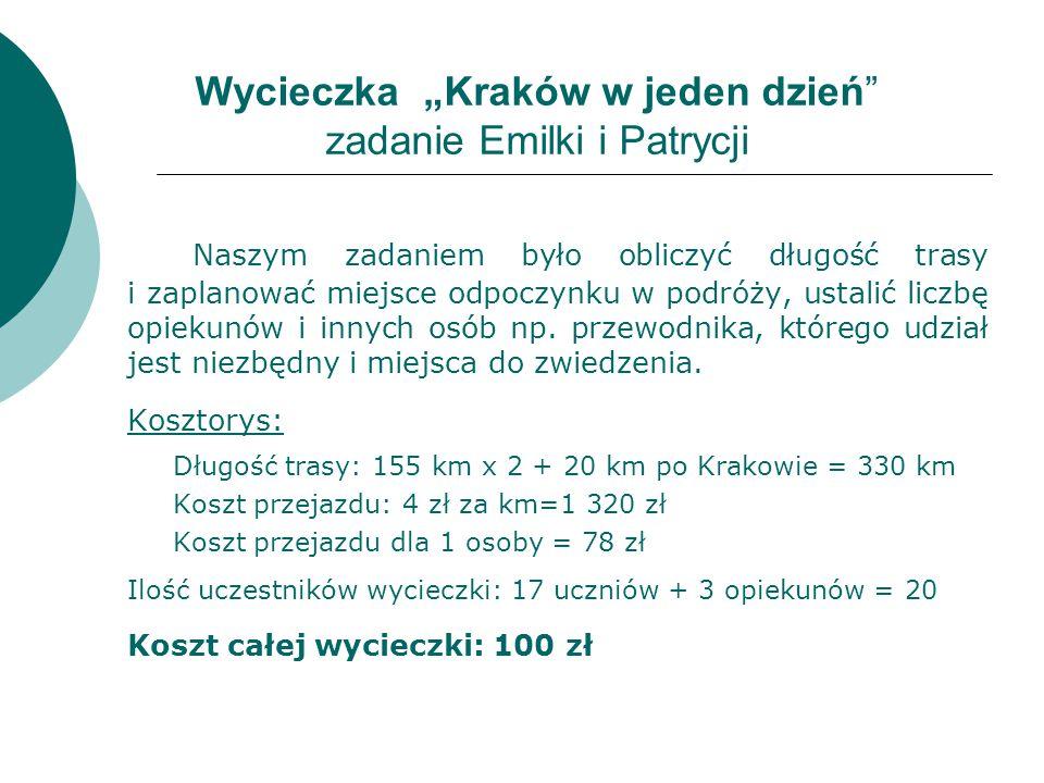 """Wycieczka """"Kraków w jeden dzień zadanie Emilki i Patrycji Naszym zadaniem było obliczyć długość trasy i zaplanować miejsce odpoczynku w podróży, ustalić liczbę opiekunów i innych osób np."""