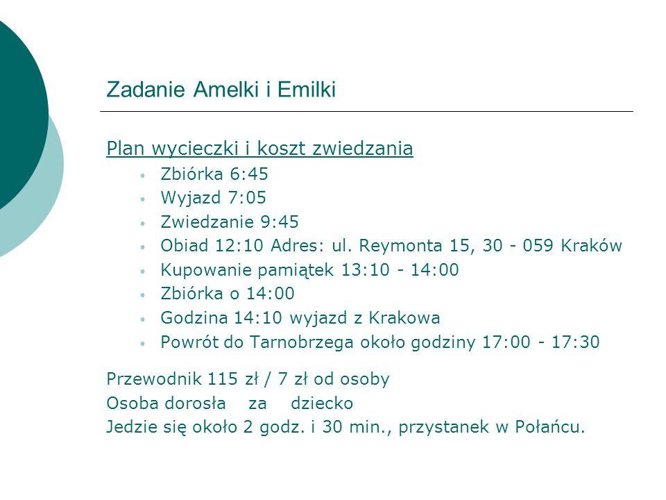 Zadanie Amelki i Emilki Plan wycieczki i koszt zwiedzania Zbiórka 6:45 Wyjazd 7:05 Zwiedzanie 9:45 Obiad 12:10 Adres: ul. Reymonta 15, 30 - 059 Kraków