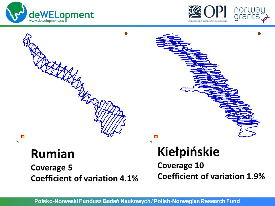 Polsko-Norweski Fundusz Badań Naukowych / Polish-Norwegian Research Fund Rumian Coverage 5 Coefficient of variation 4.1% Kiełpińskie Coverage 10 Coefficient of variation 1.9%