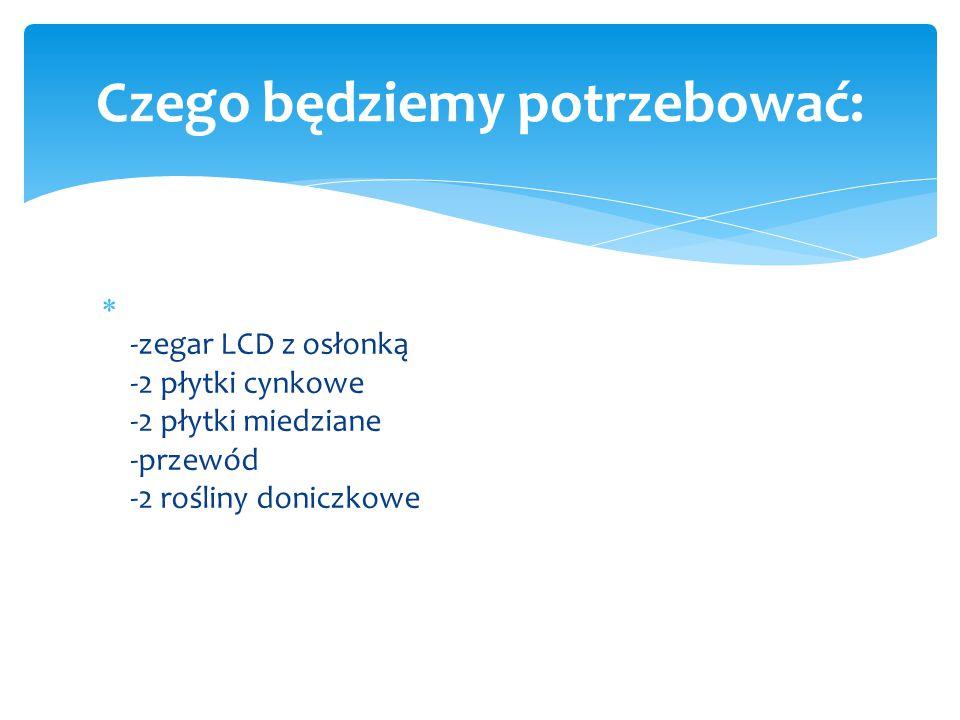  -zegar LCD z osłonką -2 płytki cynkowe -2 płytki miedziane -przewód -2 rośliny doniczkowe Czego będziemy potrzebować:
