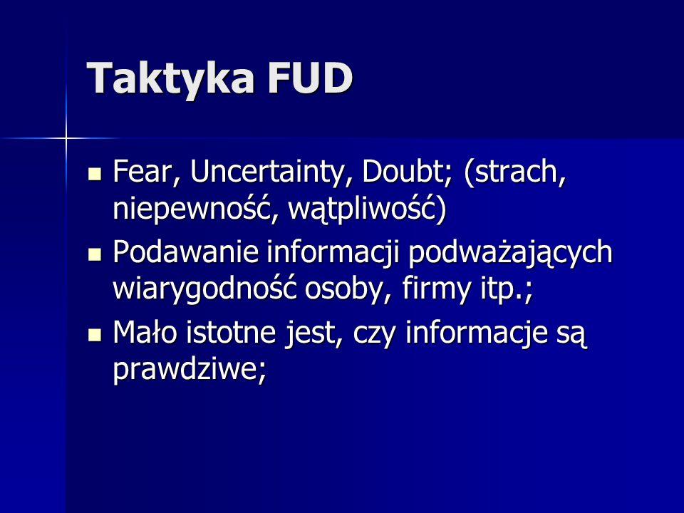 Taktyka FUD Fear, Uncertainty, Doubt; (strach, niepewność, wątpliwość) Fear, Uncertainty, Doubt; (strach, niepewność, wątpliwość) Podawanie informacji
