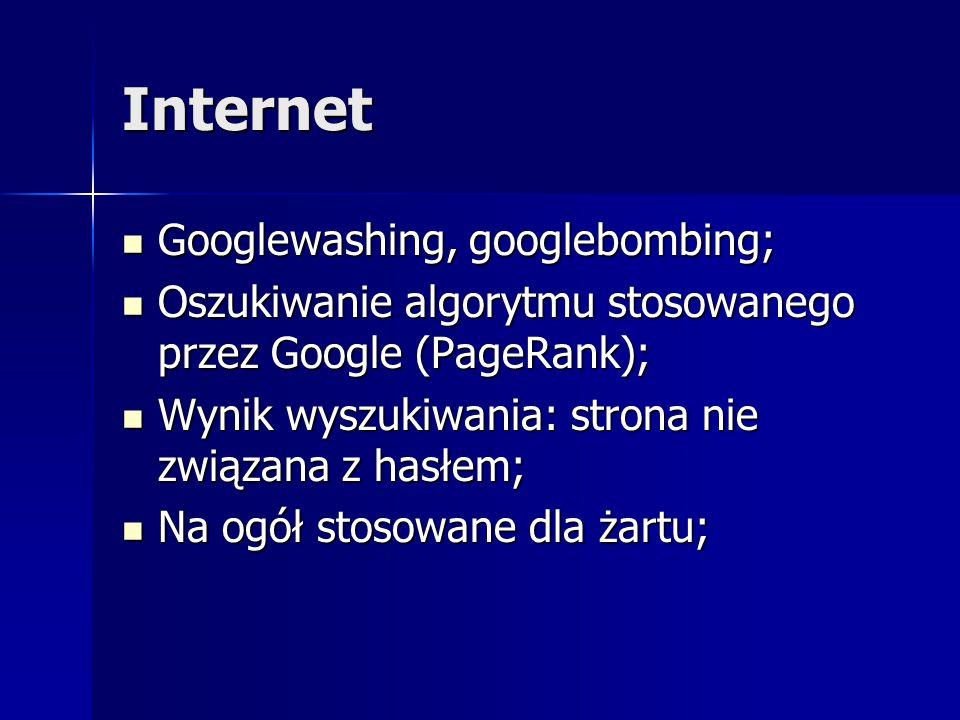 Internet Googlewashing, googlebombing; Googlewashing, googlebombing; Oszukiwanie algorytmu stosowanego przez Google (PageRank); Oszukiwanie algorytmu