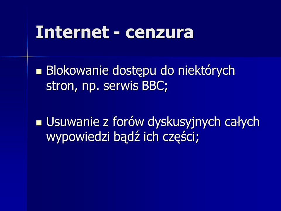 Internet - cenzura Blokowanie dostępu do niektórych stron, np. serwis BBC; Blokowanie dostępu do niektórych stron, np. serwis BBC; Usuwanie z forów dy