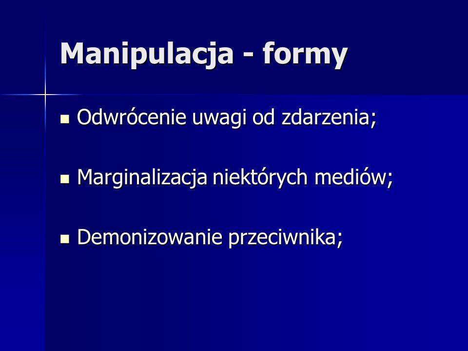 Manipulacja - formy Odwrócenie uwagi od zdarzenia; Odwrócenie uwagi od zdarzenia; Marginalizacja niektórych mediów; Marginalizacja niektórych mediów;