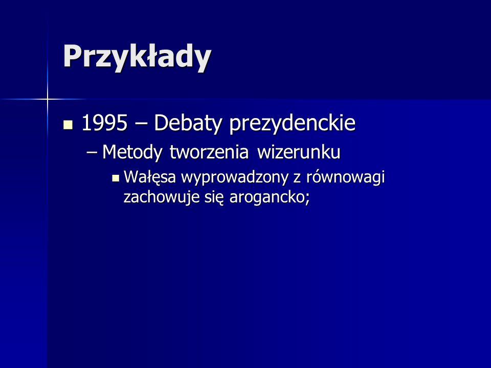Przykłady 1995 – Debaty prezydenckie 1995 – Debaty prezydenckie –Metody tworzenia wizerunku Wałęsa wyprowadzony z równowagi zachowuje się arogancko; W