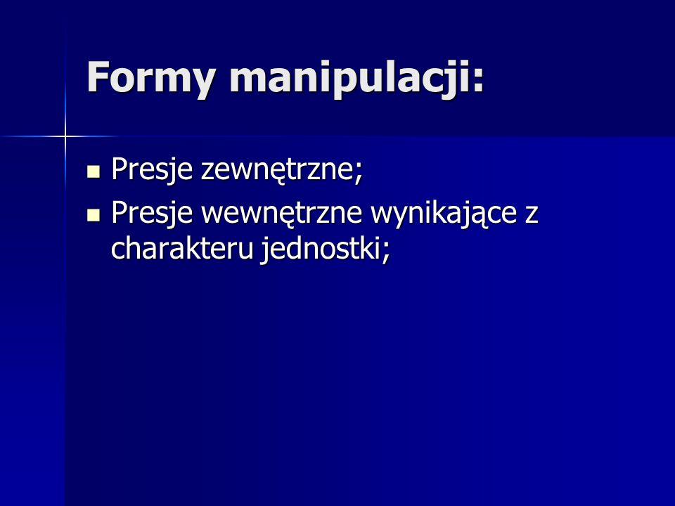 Formy manipulacji: Presje zewnętrzne; Presje zewnętrzne; Presje wewnętrzne wynikające z charakteru jednostki; Presje wewnętrzne wynikające z charakter