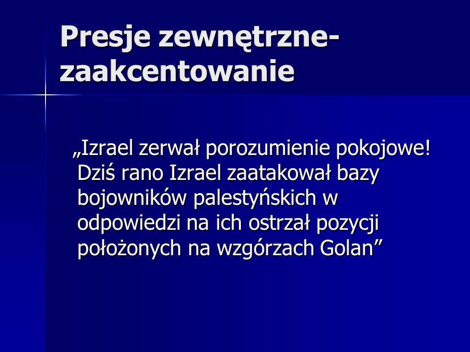 """Presje zewnętrzne- zaakcentowanie """"Izrael zerwał porozumienie pokojowe! Dziś rano Izrael zaatakował bazy bojowników palestyńskich w odpowiedzi na ich"""