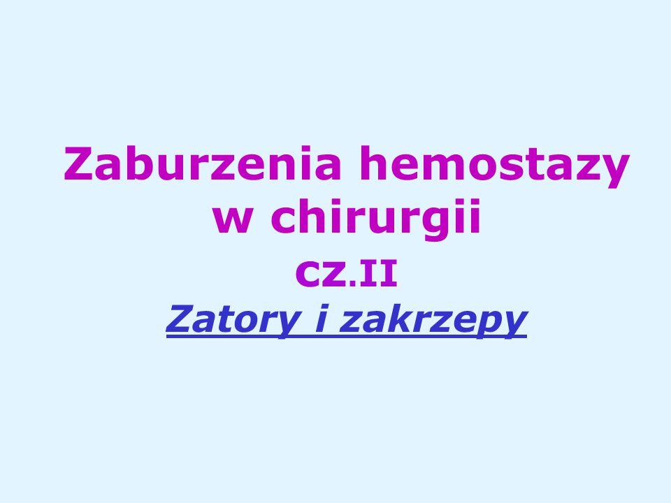 Zaburzenia hemostazy w chirurgii cz. II Zatory i zakrzepy