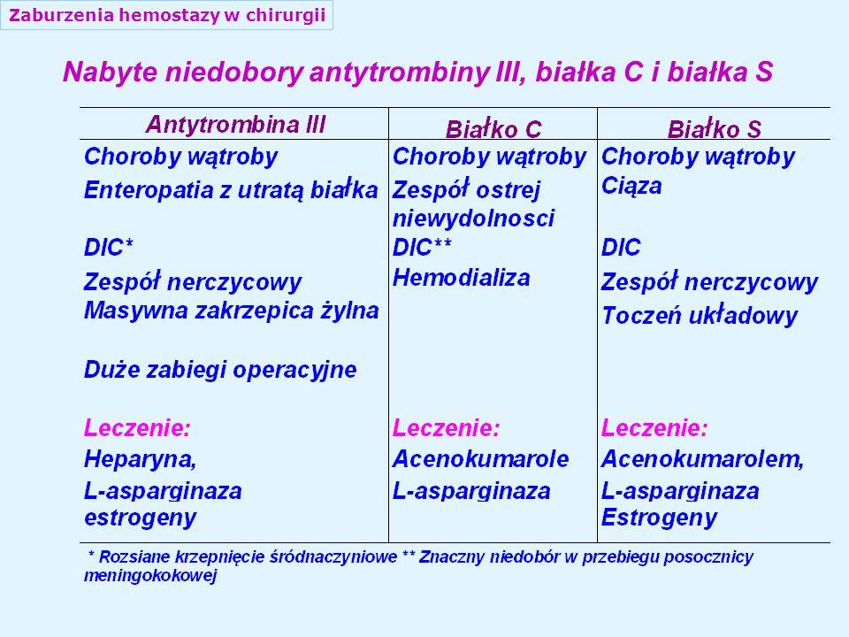 Zaburzenia hemostazy w chirurgii Nabyte niedobory antytrombiny III, białka С i białka S