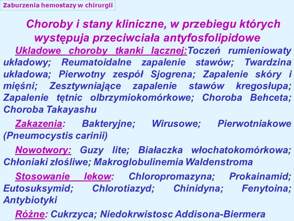Zaburzenia hemostazy w chirurgii Choroby i stany kliniczne, w przebiegu których występuja przeciwciała antyfosfolipidowe Ukladowe choroby tkanki lącznej:Toczeń rumieniowaty układowy; Reumatoidalne zapalenie stawów; Twardzina układowa; Pierwotny zespół Sjogrena; Zapalenie skóry i mięśni; Zesztywniające zapalenie stawów kregosłupa; Zapalenie tętnic olbrzymiokomórkowe; Choroba Behceta; Choroba Takayashu Zakazenia: Bakteryjne; Wirusowe; Pierwotniakowe (Pneumocystis carinii) Nowotwory: Guzy lite; Białaczka włochatokomórkowa; Chłoniaki złośliwe; Makroglobulinemia Waldenstroma Stosowanie lekow: Chloropromazyna; Prokainamid; Eutosuksymid; Chlorotiazyd; Chinidyna; Fenytoina; Antybiotyki Różne: Cukrzyca; Niedokrwistosc Addisona-Biermera