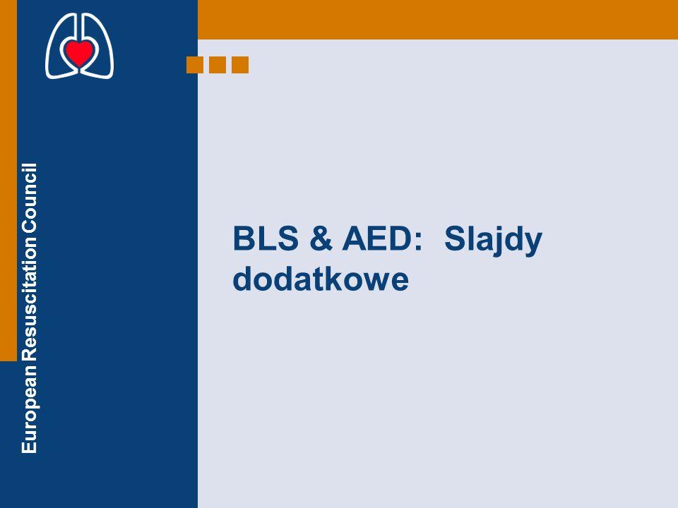 European Resuscitation Council Slajdy dodatkowe TONIĘCIE / DZIECI Tonący wymagają szybkiego rozpoczęcia oddechów ratowniczych Bezpieczeństwo ratownika jest ważne ale ratowany powinien być jak najszybciej wydobyty z wody Oddechy ratownicze mogą być wykonywane w wodzie jeżeli jesteś przeszkolony w tej technice AED może być użyte (na lądzie lub łodzi ratowniczej) jeżeli klatka piersiowa ratowanego jest sucha Oceń bezpieczeństwo Oceń przytomność Wołaj o pomoc Udrożnij dr.