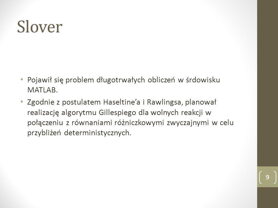 Slover Pojawił się problem długotrwałych obliczeń w śrdowisku MATLAB. Zgodnie z postulatem Haseltine'a i Rawlingsa, planował realizację algorytmu Gill
