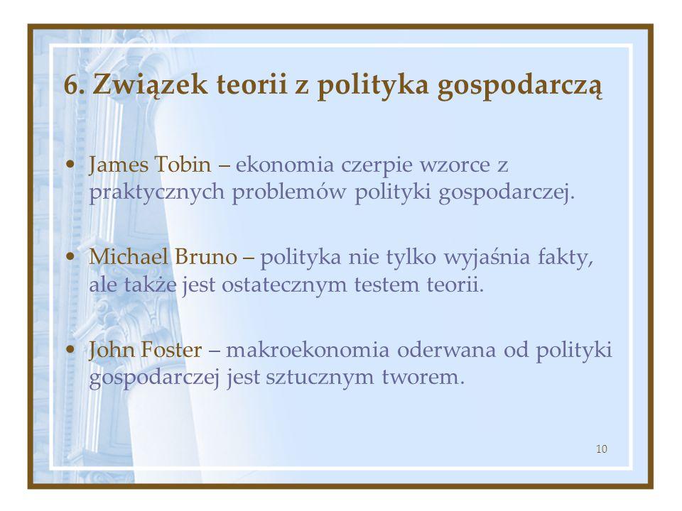 10 6. Związek teorii z polityka gospodarczą James Tobin – ekonomia czerpie wzorce z praktycznych problemów polityki gospodarczej. Michael Bruno – poli