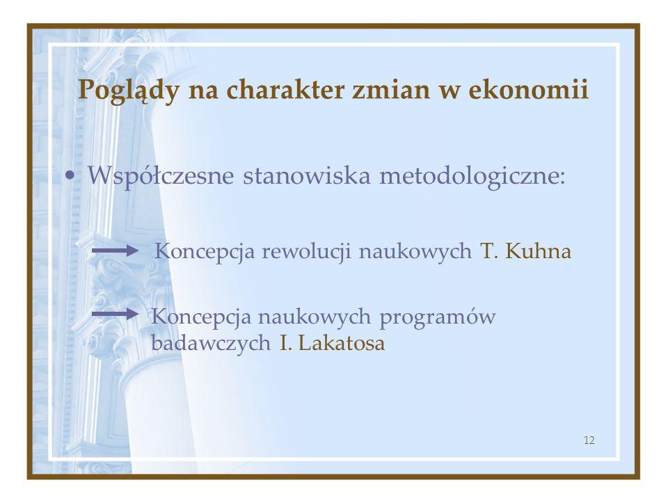 12 Poglądy na charakter zmian w ekonomii Współczesne stanowiska metodologiczne: Koncepcja rewolucji naukowych T. Kuhna Koncepcja naukowych programów b