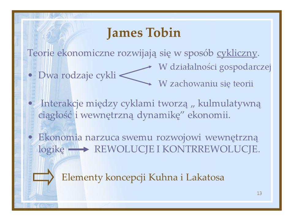 """13 Teorie ekonomiczne rozwijają się w sposób cykliczny. Dwa rodzaje cykli Interakcje między cyklami tworzą """" kulmulatywną ciągłość i wewnętrzną dynami"""