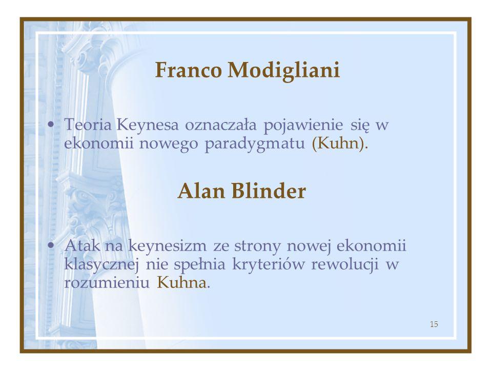 15 Franco Modigliani Teoria Keynesa oznaczała pojawienie się w ekonomii nowego paradygmatu (Kuhn). Alan Blinder Atak na keynesizm ze strony nowej ekon