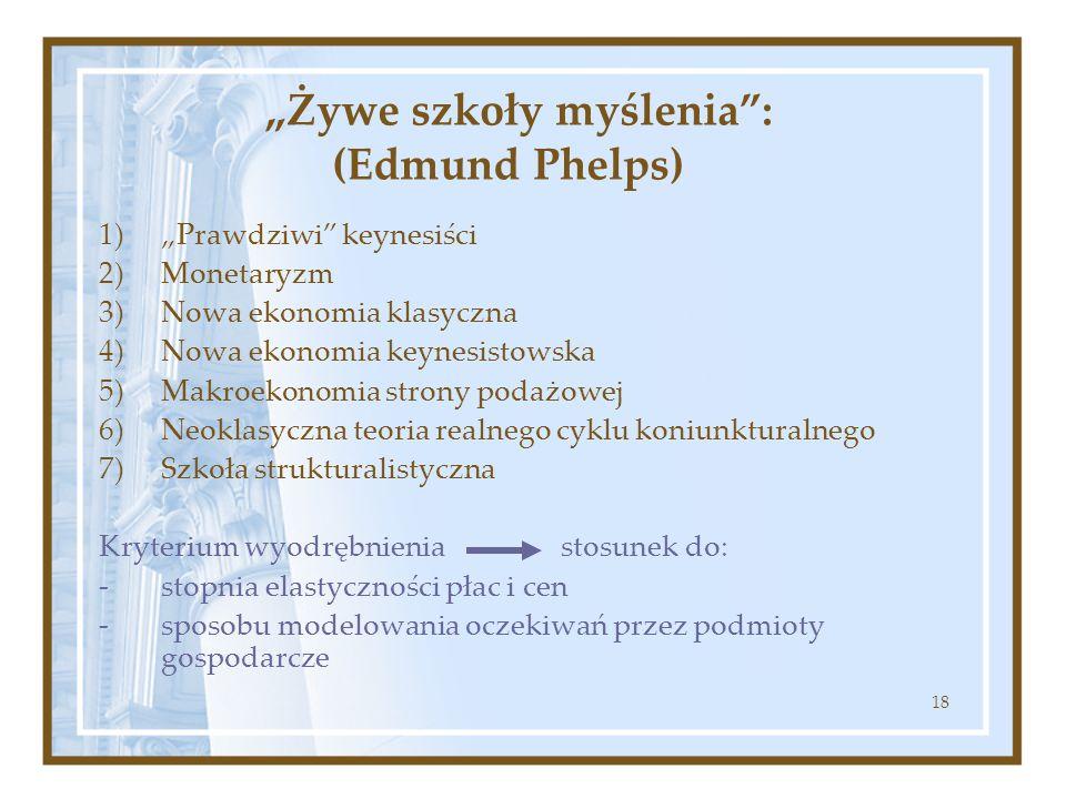 """18 """"Żywe szkoły myślenia"""": (Edmund Phelps) 1)""""Prawdziwi"""" keynesiści 2)Monetaryzm 3)Nowa ekonomia klasyczna 4)Nowa ekonomia keynesistowska 5)Makroekono"""