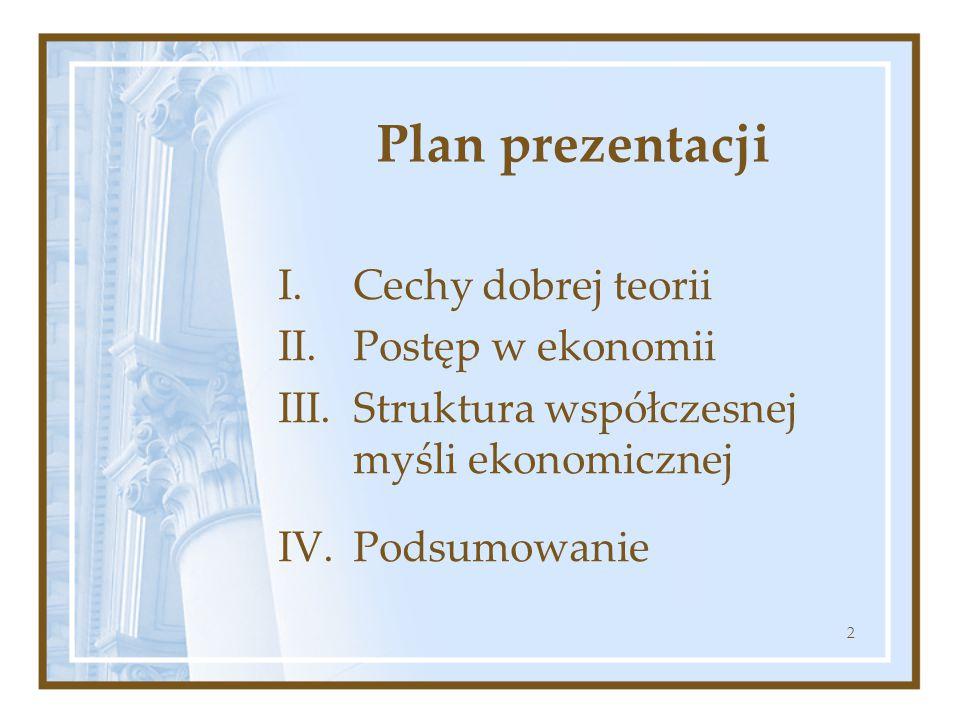 2 Plan prezentacji I.Cechy dobrej teorii II. Postęp w ekonomii III.Struktura współczesnej myśli ekonomicznej IV. Podsumowanie