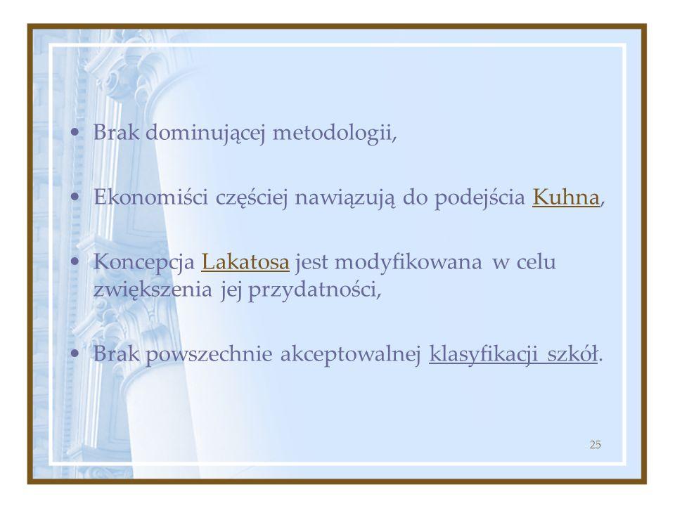 25 Brak dominującej metodologii, Ekonomiści częściej nawiązują do podejścia Kuhna, Koncepcja Lakatosa jest modyfikowana w celu zwiększenia jej przydat