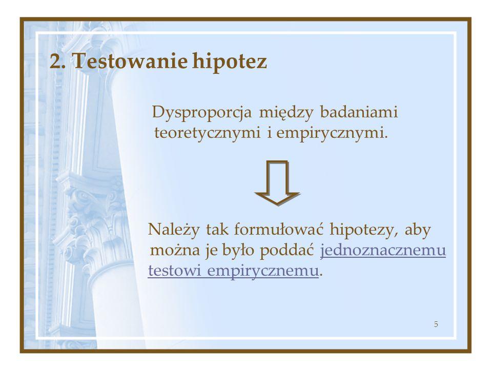 5 2. Testowanie hipotez Dysproporcja między badaniami teoretycznymi i empirycznymi. Należy tak formułować hipotezy, aby można je było poddać jednoznac