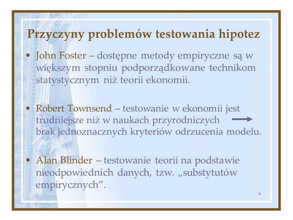 6 Przyczyny problemów testowania hipotez John Foster – dostępne metody empiryczne są w większym stopniu podporządkowane technikom statystycznym niż te