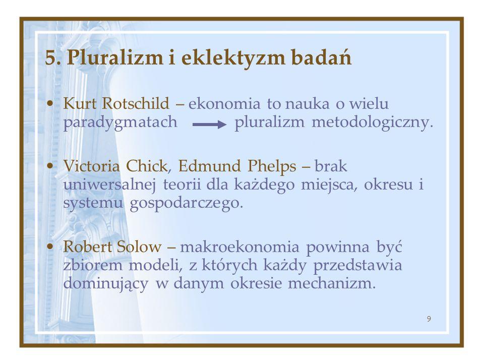 9 5. Pluralizm i eklektyzm badań Kurt Rotschild – ekonomia to nauka o wielu paradygmatach pluralizm metodologiczny. Victoria Chick, Edmund Phelps – br