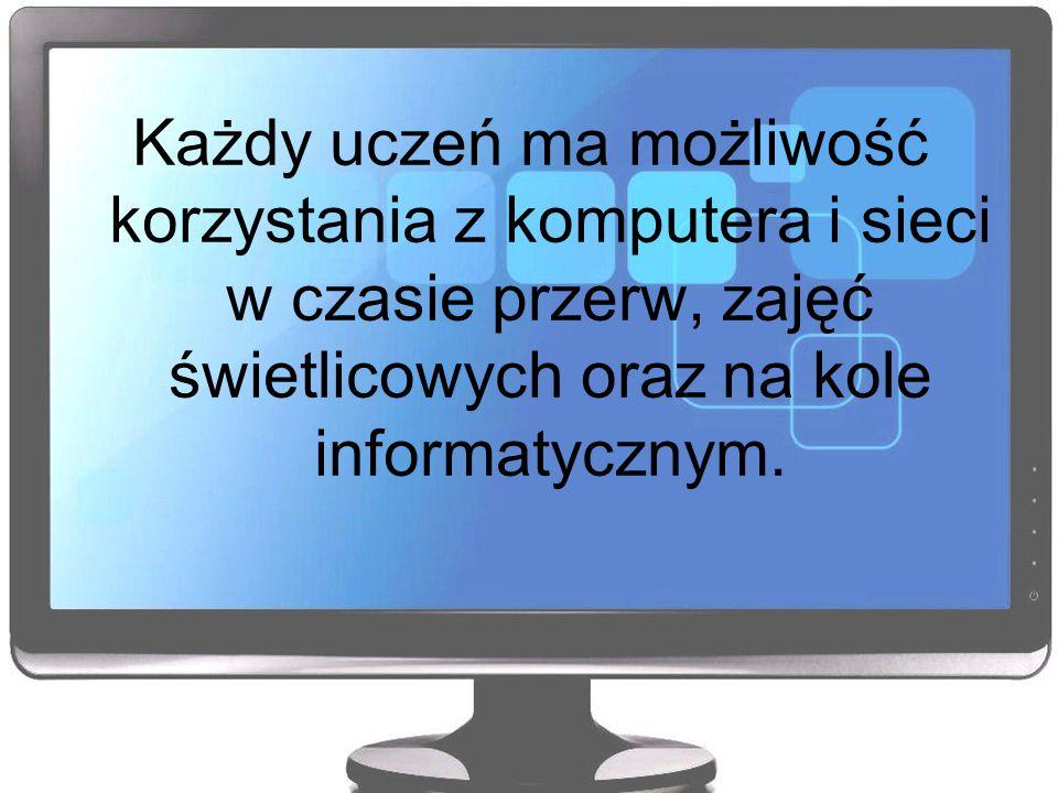 Każdy uczeń ma możliwość korzystania z komputera i sieci w czasie przerw, zajęć świetlicowych oraz na kole informatycznym.