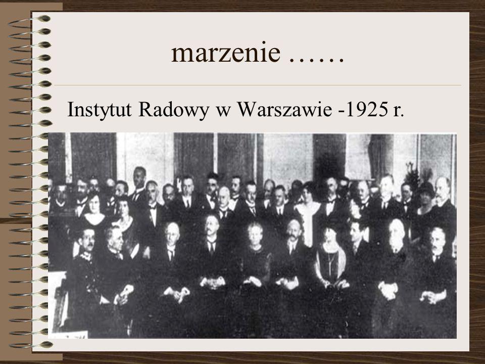 marzenie …… Instytut Radowy w Warszawie -1925 r.