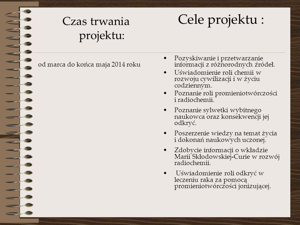 Czas trwania projektu: od marca do końca maja 2014 roku Cele projektu : Pozyskiwanie i przetwarzanie informacji z różnorodnych źródeł.