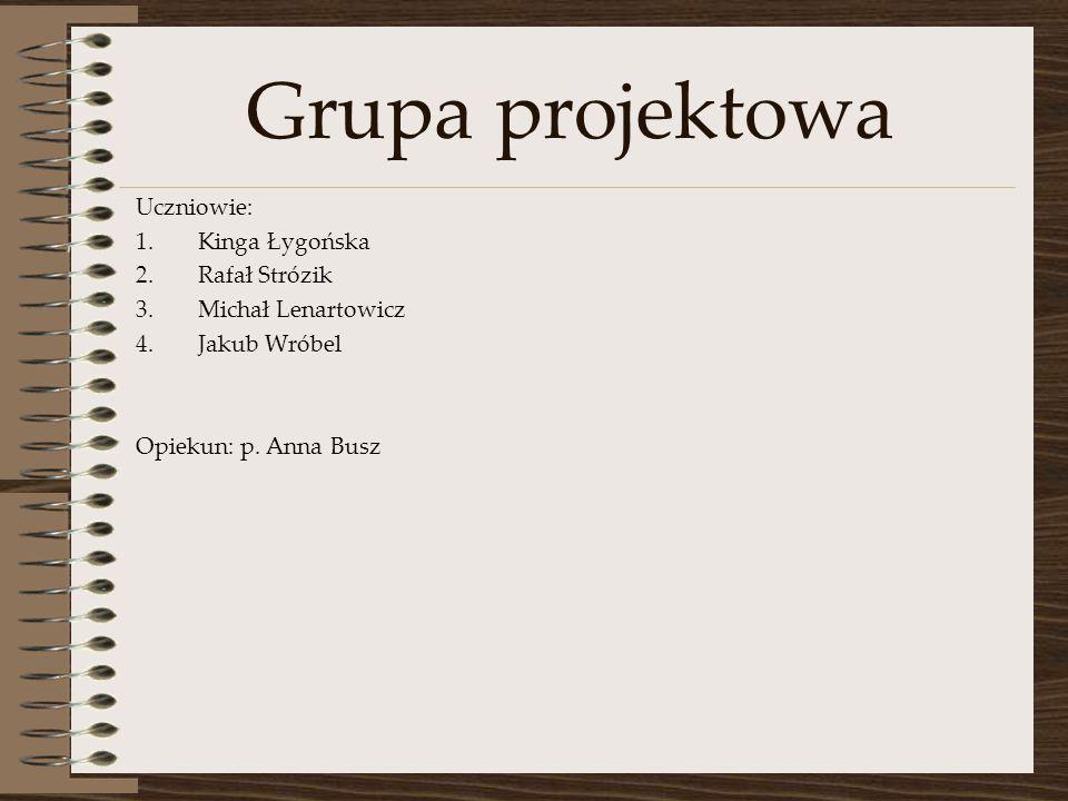 Grupa projektowa Uczniowie: 1.Kinga Łygońska 2.Rafał Strózik 3.Michał Lenartowicz 4.Jakub Wróbel Opiekun: p.