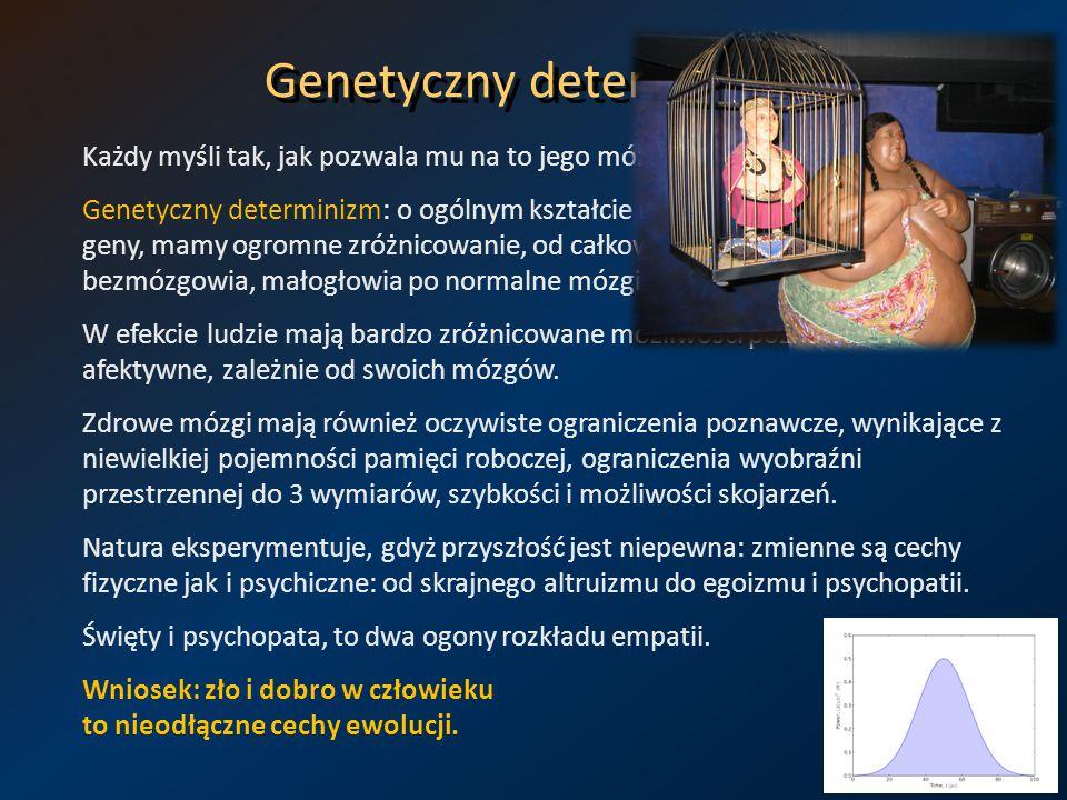 Genetyczny determinizm Każdy myśli tak, jak pozwala mu na to jego mózg. Genetyczny determinizm: o ogólnym kształcie naszych mózgów decydują geny, mamy