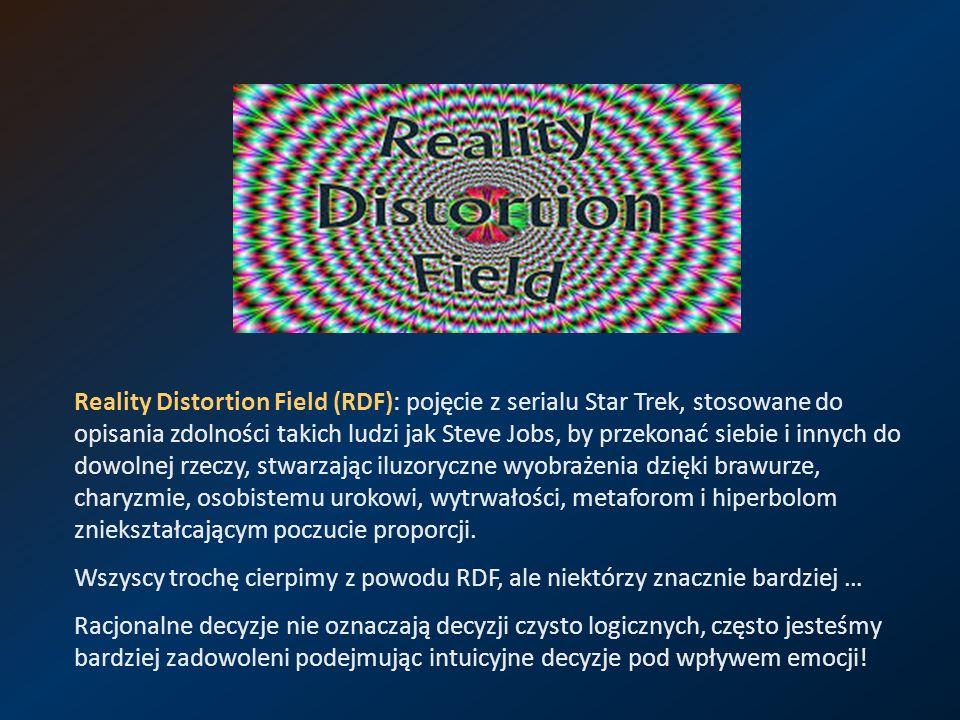 Reality Distortion Field (RDF): pojęcie z serialu Star Trek, stosowane do opisania zdolności takich ludzi jak Steve Jobs, by przekonać siebie i innych