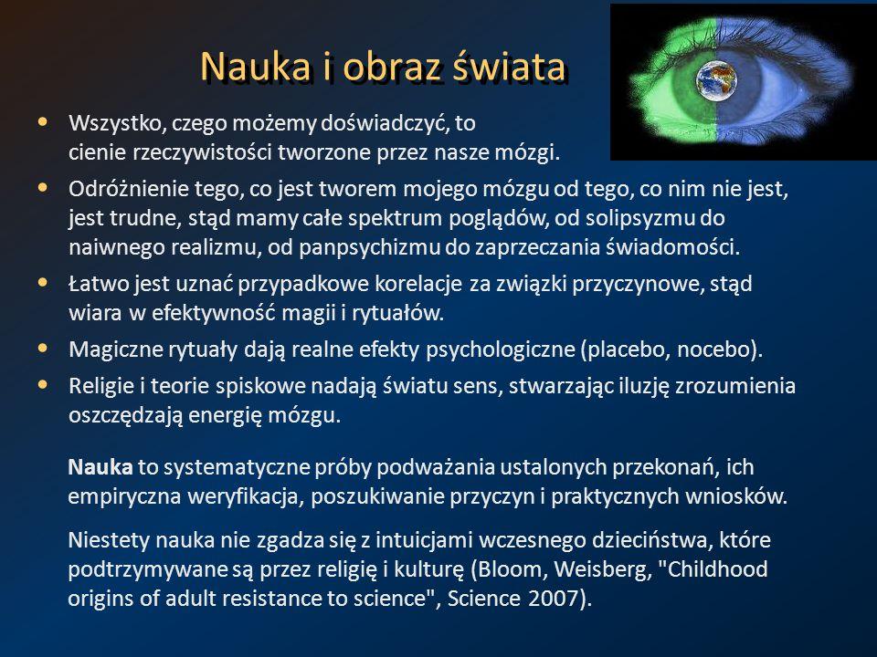 Nauka i obraz świata Wszystko, czego możemy doświadczyć, to cienie rzeczywistości tworzone przez nasze mózgi. Odróżnienie tego, co jest tworem mojego
