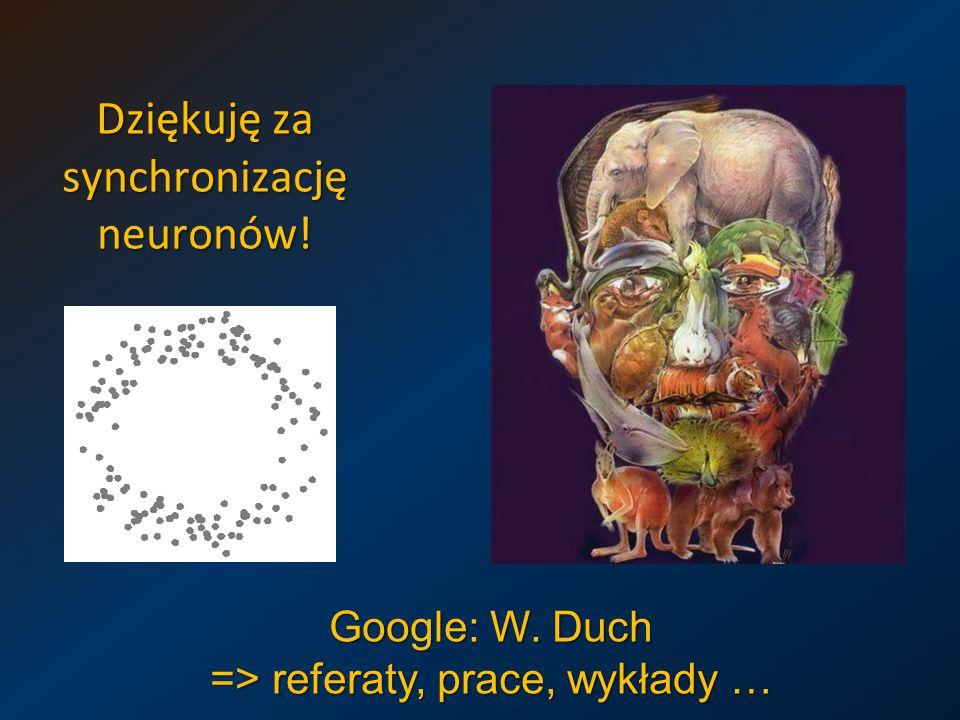 Dziękuję za synchronizację neuronów! Google: W. Duch => referaty, prace, wykłady …