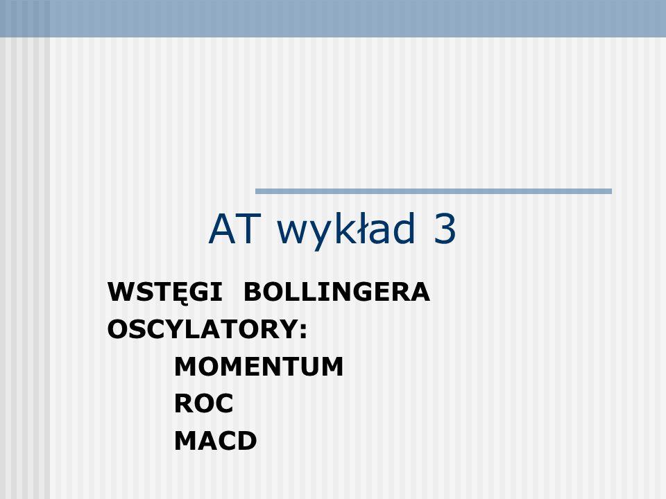 AT wykład 3 WSTĘGI BOLLINGERA OSCYLATORY: MOMENTUM ROC MACD