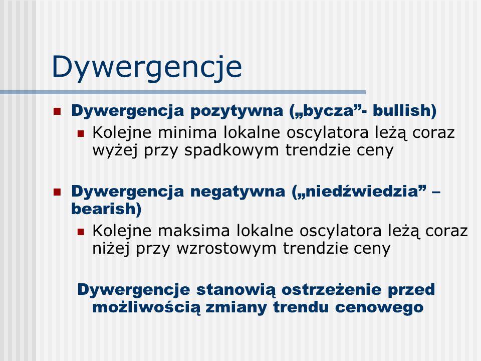 """Dywergencje Dywergencja pozytywna (""""bycza - bullish) Kolejne minima lokalne oscylatora leżą coraz wyżej przy spadkowym trendzie ceny Dywergencja negatywna (""""niedźwiedzia – bearish) Kolejne maksima lokalne oscylatora leżą coraz niżej przy wzrostowym trendzie ceny Dywergencje stanowią ostrzeżenie przed możliwością zmiany trendu cenowego"""