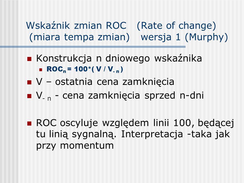 Wskaźnik zmian ROC (Rate of change) (miara tempa zmian) wersja 1 (Murphy) Konstrukcja n dniowego wskaźnika ROC n = 100*( V / V - n ) V – ostatnia cena zamknięcia V - n - cena zamknięcia sprzed n-dni ROC oscyluje względem linii 100, będącej tu linią sygnalną.