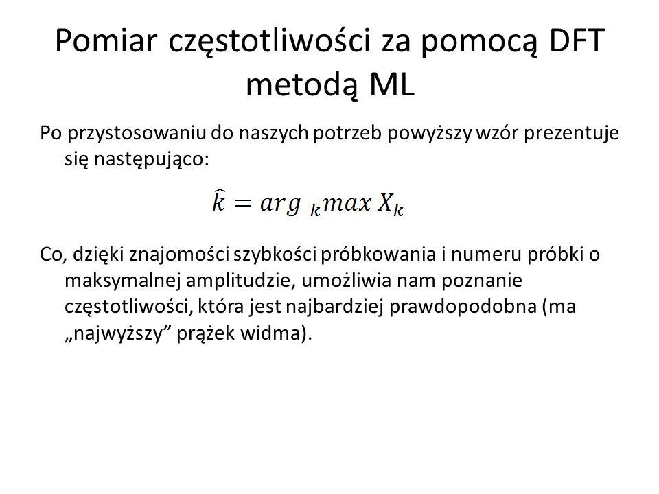 Pomiar częstotliwości za pomocą DFT metodą ML Po przystosowaniu do naszych potrzeb powyższy wzór prezentuje się następująco: Co, dzięki znajomości szy