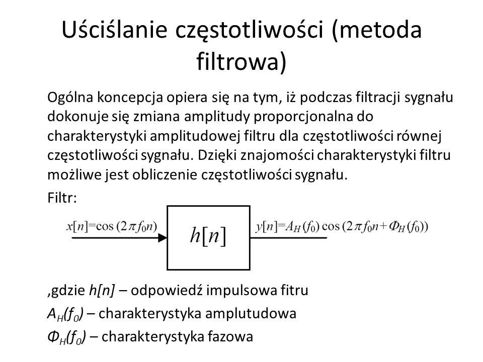 Uściślanie częstotliwości (metoda filtrowa) Ogólna koncepcja opiera się na tym, iż podczas filtracji sygnału dokonuje się zmiana amplitudy proporcjona