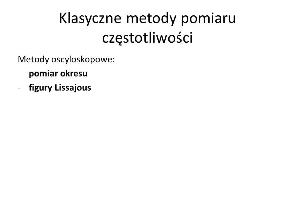 Klasyczne metody pomiaru częstotliwości Metody oscyloskopowe: -pomiar okresu -figury Lissajous