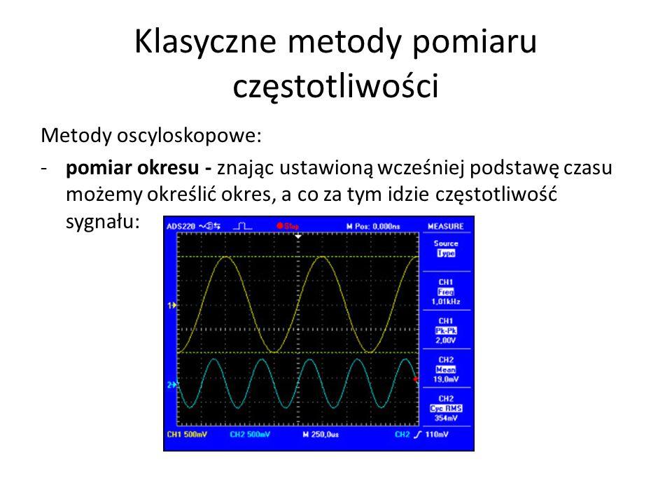 Klasyczne metody pomiaru częstotliwości Metody oscyloskopowe: -pomiar okresu - znając ustawioną wcześniej podstawę czasu możemy określić okres, a co z