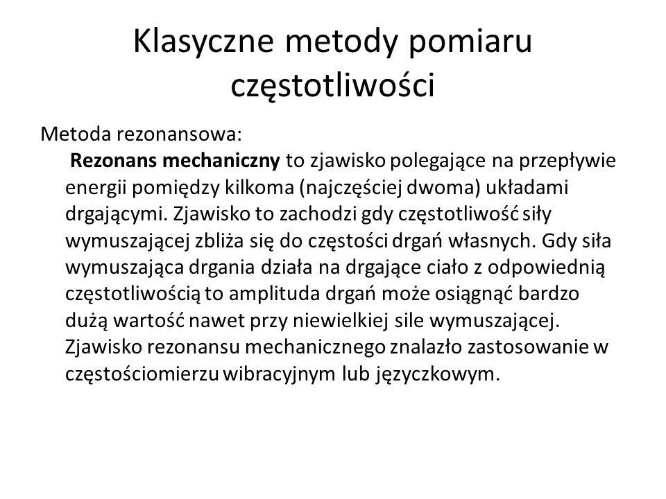 Metoda rezonansowa: Rezonans mechaniczny to zjawisko polegające na przepływie energii pomiędzy kilkoma (najczęściej dwoma) układami drgającymi. Zjawis