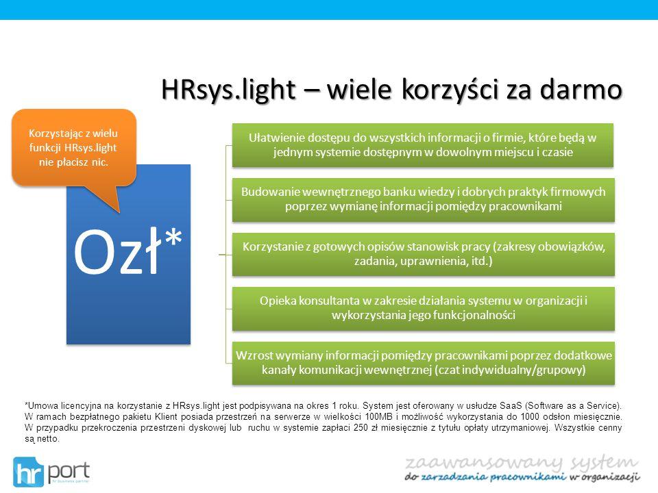 HRsys.light – wiele korzyści za darmo *Umowa licencyjna na korzystanie z HRsys.light jest podpisywana na okres 1 roku. System jest oferowany w usłudze