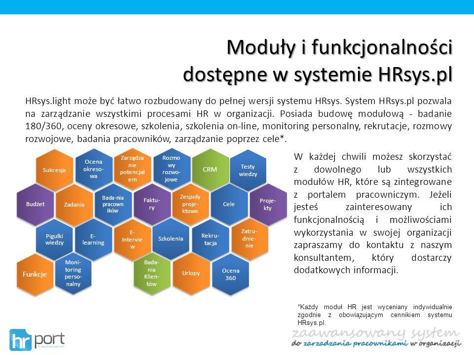 Moduły i funkcjonalności dostępne w systemie HRsys.pl HRsys.light może być łatwo rozbudowany do pełnej wersji systemu HRsys. System HRsys.pl pozwala n