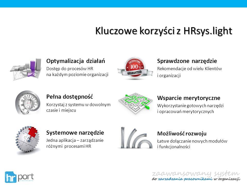 Kluczowe korzyści z HRsys.light Optymalizacja działań Dostęp do procesów HR na każdym poziomie organizacji Pełna dostępność Korzystaj z systemu w dowo