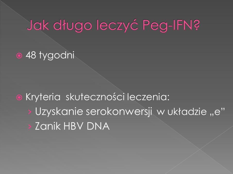 """ 48 tygodni  Kryteria skuteczności leczenia: › Uzyskanie serokonwersji w układzie """"e › Zanik HBV DNA"""